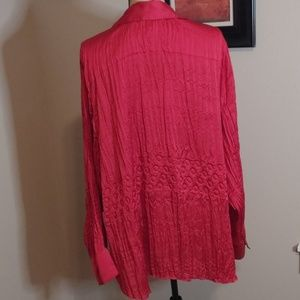 Lane Bryant Tops - Lane Bryant Red Satin Pressed Pleated Button Up